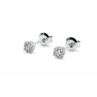 Pendientes Oro Blanco y Brillantes Shine