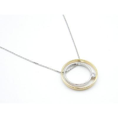 Colgante Oro Bicolor 18 kt Diamante Talla Brillante y Cadena Oro Blanco