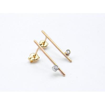 Pendientes Barrita Oro Rosa + Oro Blanco i Diamantes Talla Brillante