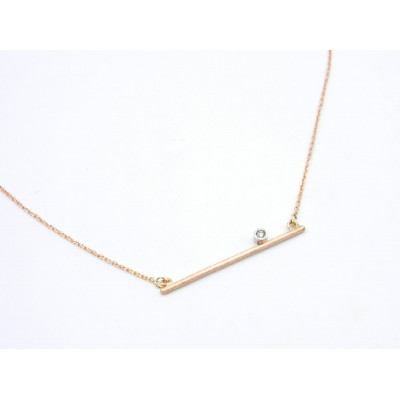 Colgante Barrita Oro Rosa + Oro Blanco y  Diamante Talla Brillante