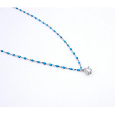 Collar Plata y Cerámica Azul Motivo Circonita
