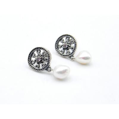 Pendientes Top Silver Perla