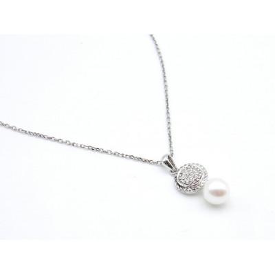 Colgante Plata Perla y Brillantes