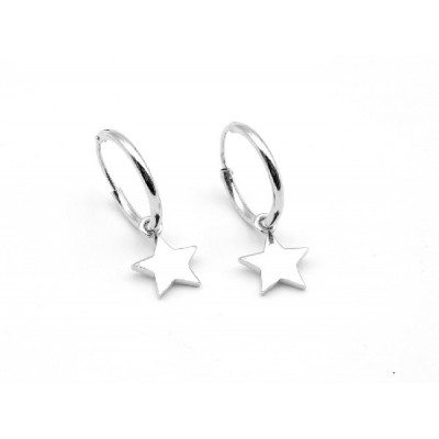 Aros Plata Estrellas Colgando