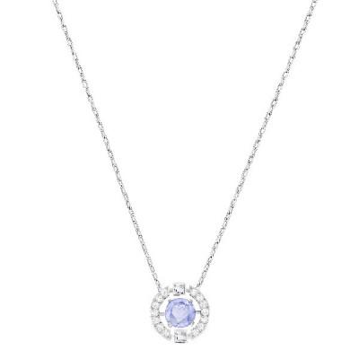Collar Sparkling Dance Round, azul, baño de rodio5279425