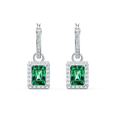 Pendientes Angelic Rectangular, verde, baño de rodio 5559834