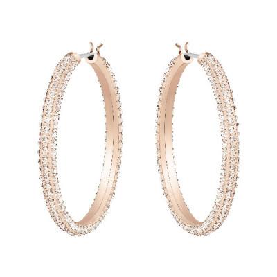 Pendientes de aro Stone, rosa, Baño en tono Oro Rosa5383938