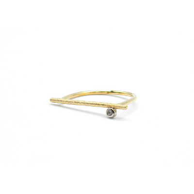 Anillo barrita oro amarillo + brillante