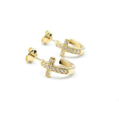Aros Oro Amarillo Symbol Cruz