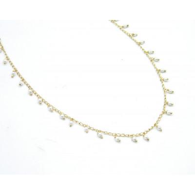 Collar Plata Dorada con Perlas colgando Top Silver