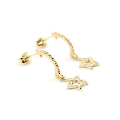 Pendientes Estrellas Oro Amarillo Circonitas Symbol