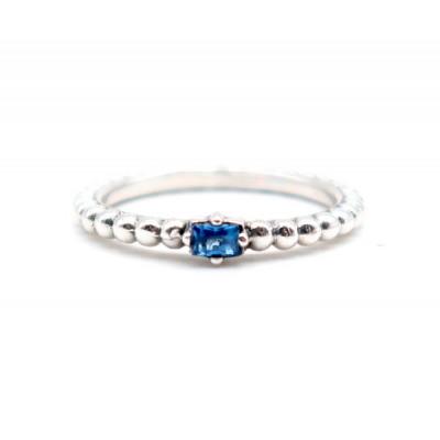 Anillo Piedra Azul Plata Top Silver