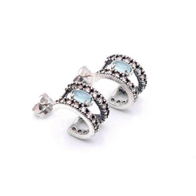 Pendientes Aro Piedra Azul Top Silver