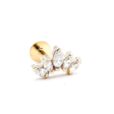 Piercing Oro Amarillo Circonitas Blancas