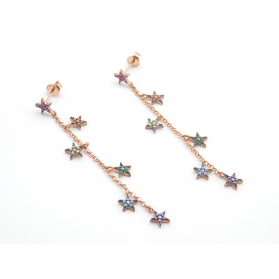 Pendientes Plata Rosada Colour Estrellas