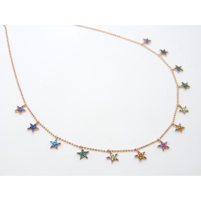 Colgante Plata Rosado Colour Estrellas